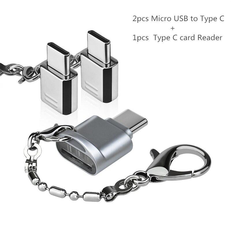 USB Typ C Adapter 3 Paket, USB C zu Micro USB Konvertieren Anschluss mit Schlüsselanhänger für Galaxy S8 Neue Macbook Pixe
