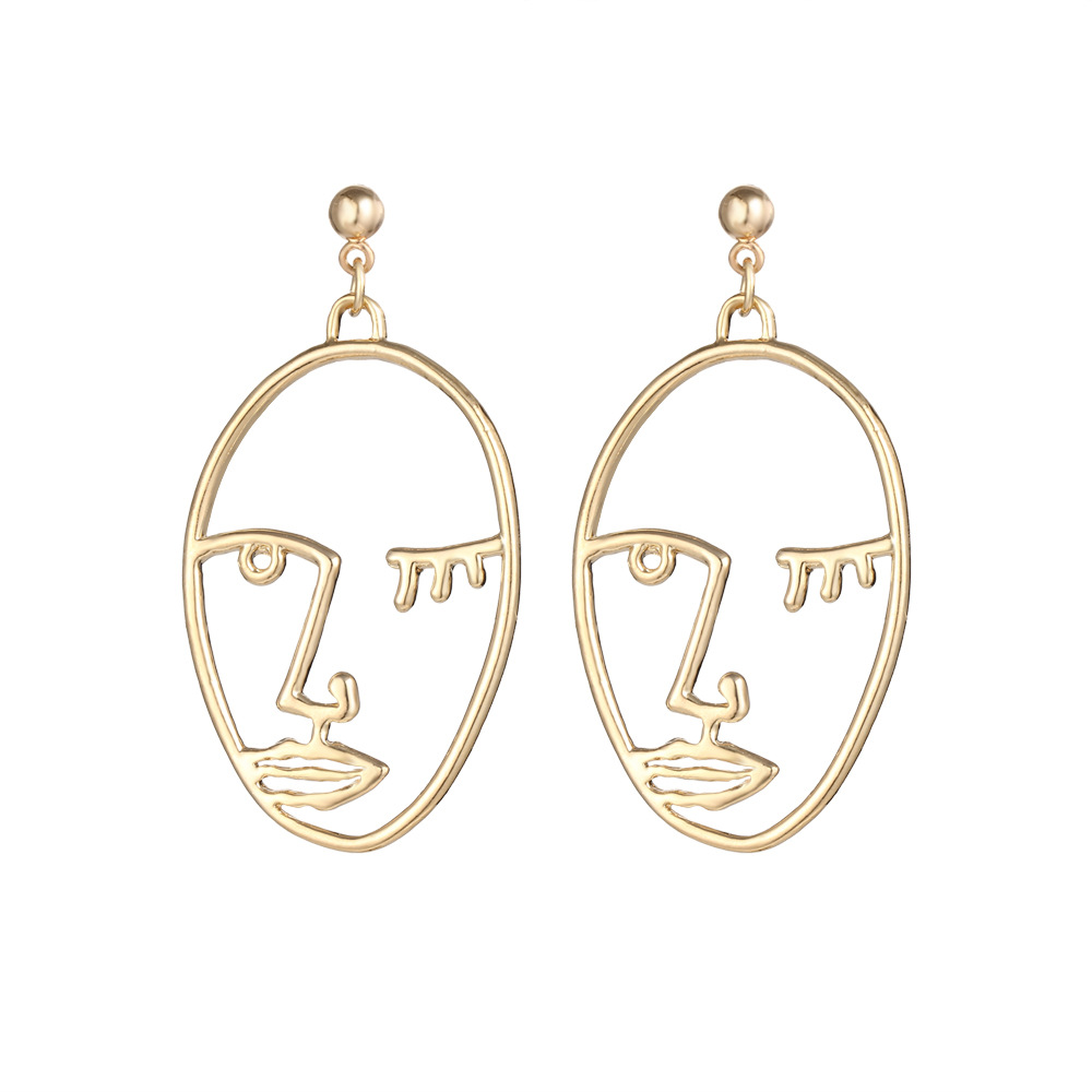 c1ee23008 Gold Color Silver Color Face Hand Drop Earrings For Women Hollow Dangle  Earring Eardrop Fashion Jewelry