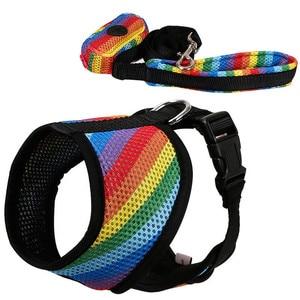 Image 4 - Zestaw smycz i uprząż dla psa z torba na odchody miękka oddychająca Rainbow Mesh buldog francuski kamizelka regulowana smycz do biegania uprząż SP