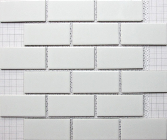 € 157.92 |Blanc brique en céramique carreaux de mosaïque cuisine dosseret  de carreaux de salle de bains piscine carreaux de mur de douche fond ...