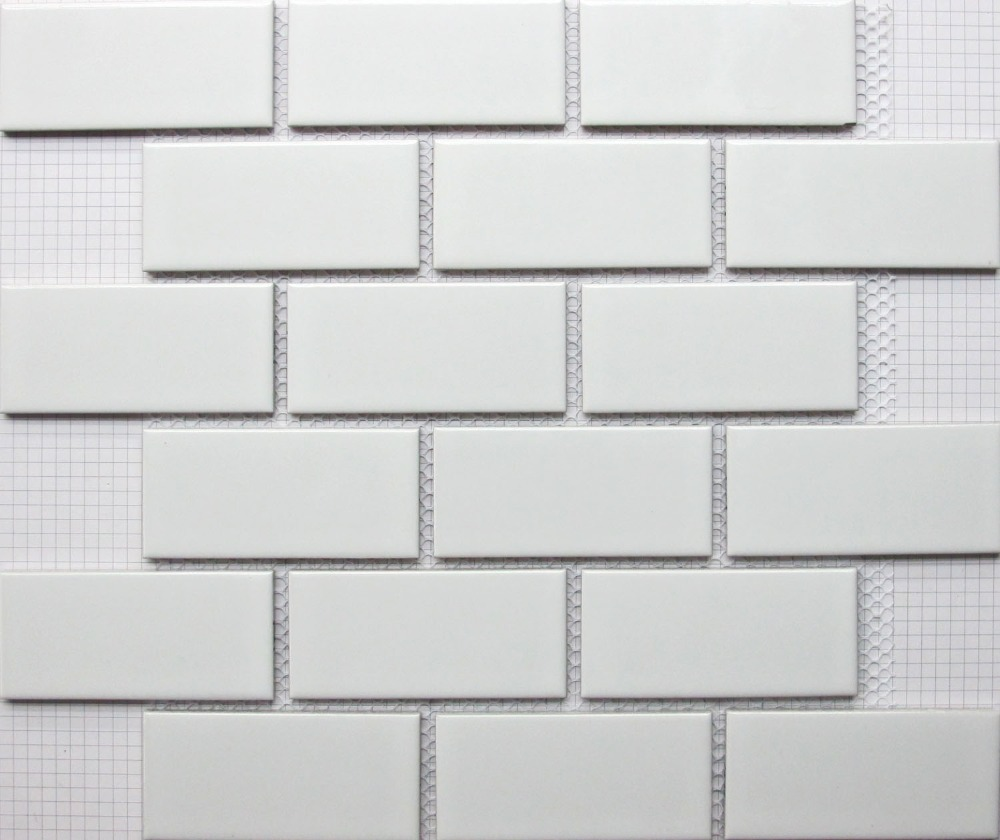 Buy white brick ceramic mosaic tile - White kitchen brick tiles ...