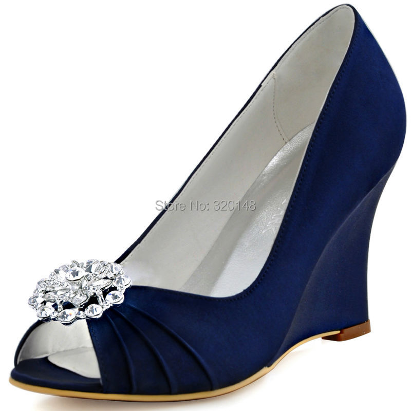 Navy Blue Wedge Heel Shoes