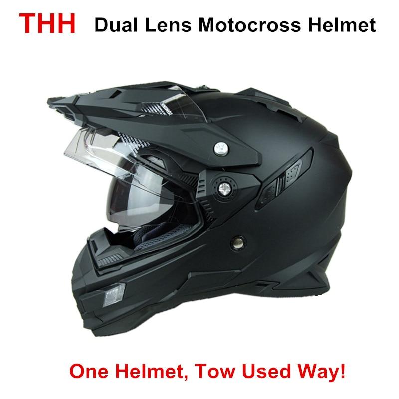 THH TX27 mens motorcycle helmet motocross racing helmets Dual shield off road motorbike full face moto