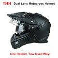 THH TX27 mens motorcycle helmet motocross racing helmets Dual shield off road motorbike full face moto cross helmet DOT approved