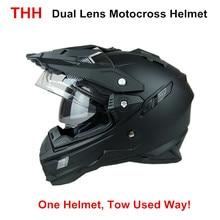 Thh tx27 mężczyzna motocykl kask kaski motocross racing podwójna tarcza na terenie motocykl całą twarz moto krzyż kask dot zatwierdzony