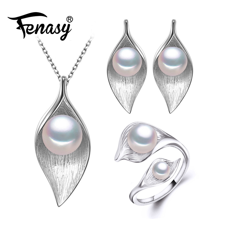 FENASY Natural Pearl Jewelry Sets 925 Sterling Silver pendant Necklace for women leaf Pearl Earrings and wedding party rings a suit of chic faux pearl rhinestone leaf necklace and earrings for women