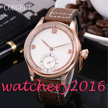 Simple Corgeut 44mm white dial rose golden case Newest Hot top brands 6498 hand winding movement Men's Mechanical Wristwatches
