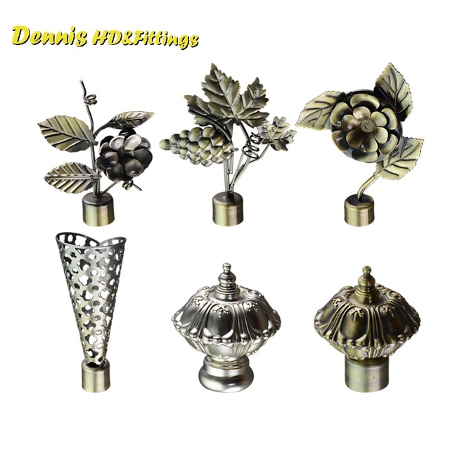 2pcs Lot Drapery Curtain Rod End Decorative Cap Finial Hook Grape Design