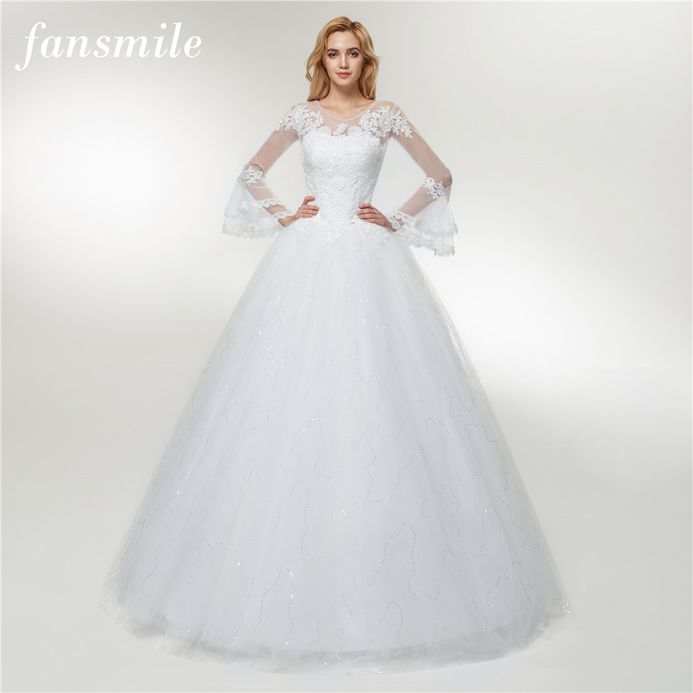 Fansmile 2019 Tulle Mariage Vestido De Noiva Lace Ball Wedding Dress Plus Size Appliques Bridal Gown