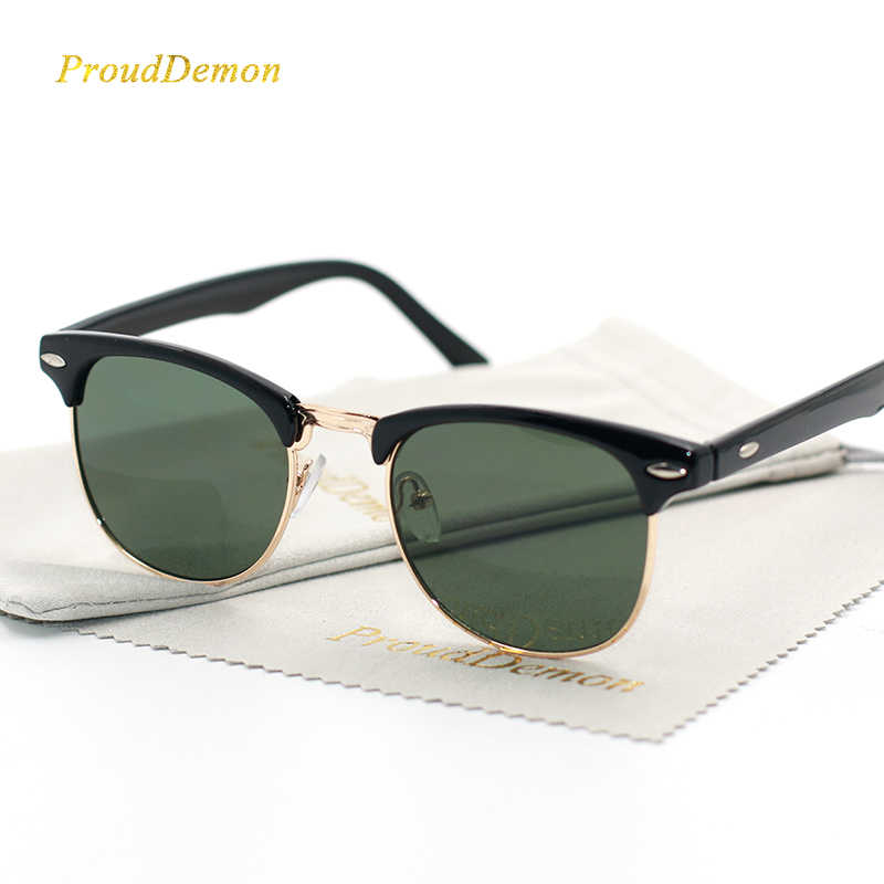 9305946edce95 Fashion Classic Half Metal Rivet Sunglasses Men Women Brand Designer Oculos  de sol High Quality Mirror