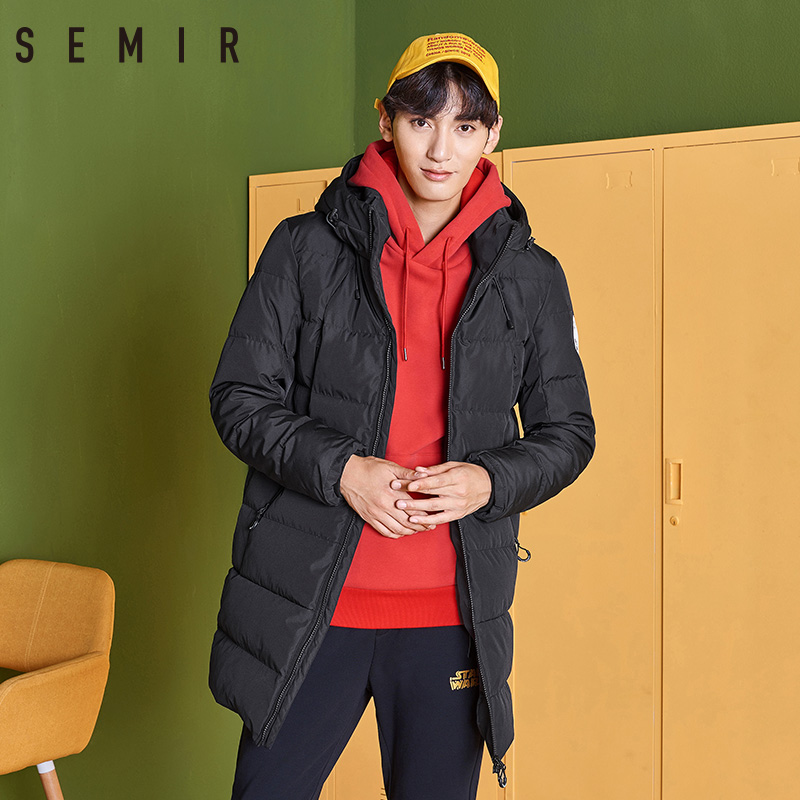 SEMIR   down   jacket for men casual thick warm winter long hooded   coat   duck   down   jacket for men winter clothes men outerwear