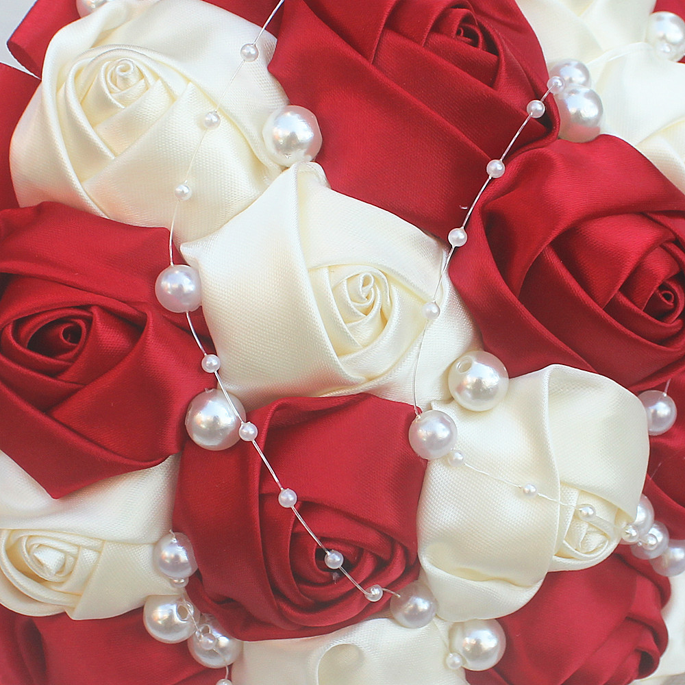 Simple Wine Red Ivory Rose Pearls Hand Holding Bridal Bouquets Rose ...