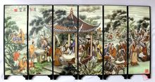 Chinese Boutique collection Lacquer ware painting crane folding screen-Orchid Pavillion Series