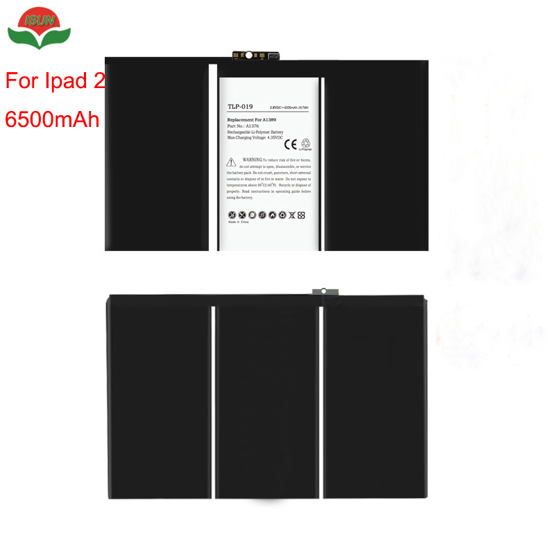ISUN 2pcs/lot Tablet <font><b>Battery</b></font> For Apple iPad 2 <font><b>Battery</b></font> 6500mAh <font><b>A1376</b></font>, 616-0559, 616-0561, 616-0576 <font><b>Battery</b></font> image