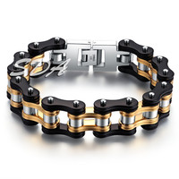 SDA Hot Fashion Mens Motorcycle Chain Bracelets 16mm Wide Top Quality Genuine 316L Stainless Steel with Gold Cool Black YM078