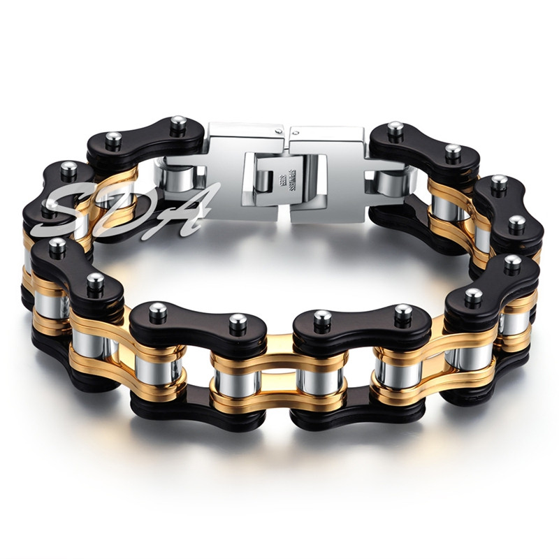 16mm 8.66/'/' Fashion Stainless Steel Tri-Color Motorcycle Chain Bracelet Bangle