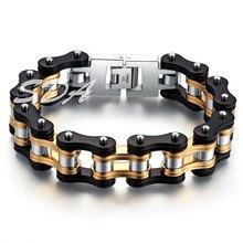 SDA Модные мужские мотоциклетные цепи браслеты 16 мм широкий одежда высшего качества натуральная 316L нержавеющая сталь с золотом YM078
