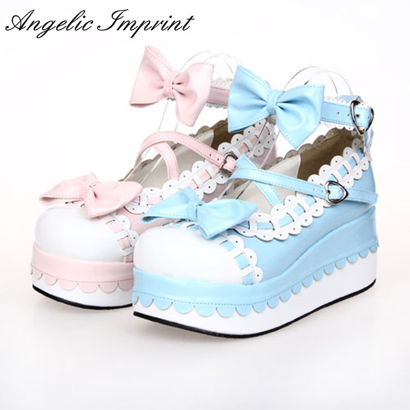 Princess Girls Tea Party Shoes Criss-Cross Strap Sweet Lolita Platform Mary Jane Pumps Wedge Shoes criss cross platform wedge sandals
