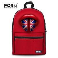 FORUDESIGNS Designer US UK Flag Backpack Vintage Women's Backbag Canvas Kids Book Bag Teenager Girls Printing Bagpack