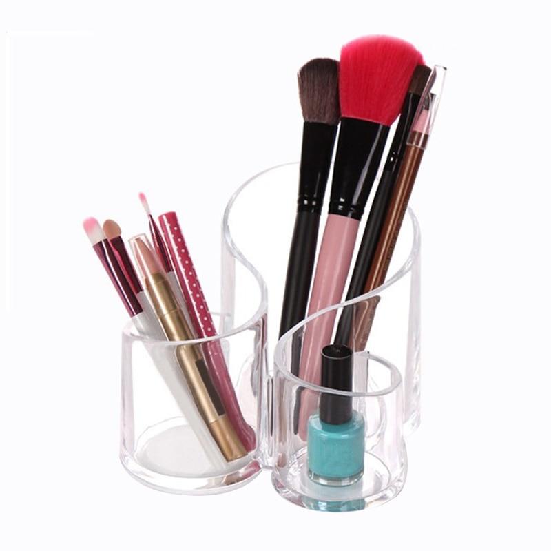 3 Lattices Cosmetic Storage Boxes Bins Household Makeup Holder Container Desktop Transparent Organizer Accessories