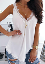 2019  Female Out Wear New Tank Top Sleeveless casual Vest Lace Top Sexy Tees Women Flower Lace Solid Stitching V-neck Tanks v neck sleeveless lace stitching design vest