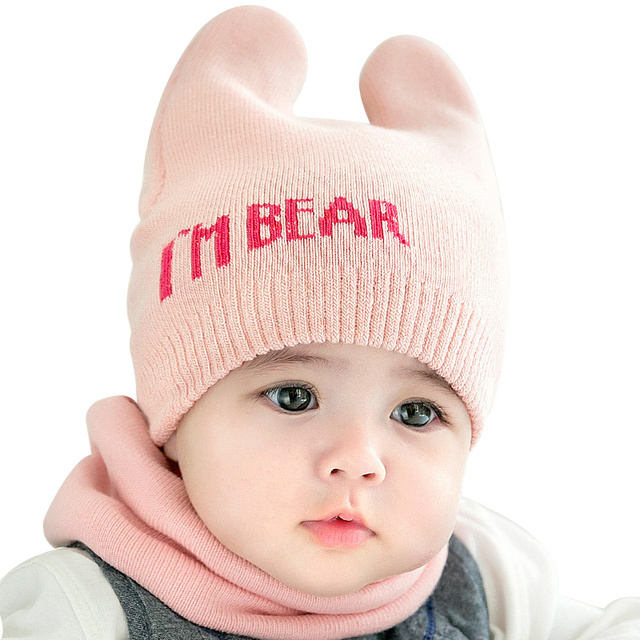 I M BEAR Lovely Baby Beanie Hat For Girls Cute Knitting Boys Beanie Horns  Pattern Baby Hat With Gloves Set Baby Girls Clothing 05a05ed5dbe