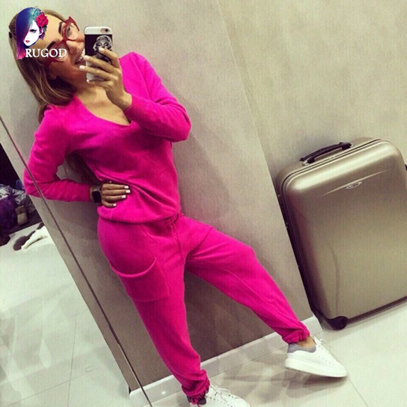 17 Hot 2 Pieces Set Women V-Neck Sexy Knitted two pieces sets Spring Suits Tracksuit Sweater top+ Pants Set Womens Casual Suit 14