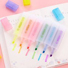 6 pcs oblique tip Jumbo mild color highlighter pen for paper copy fax Stationery office accessories School markers supplies F070