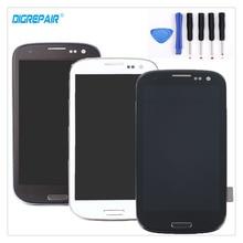 Siyah/Beyaz/Mavi Samsung Galaxy S3 i9300 Için LCD Ekran Sayısallaştırıcı Dokunmatik ekran Montaj + Çerçeve çerçeve + onarım Araçları, ücretsiz Kargo