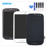 Black White Blue For Samsung Galaxy S3 I9300 LCD Display Digitizer Touch Screen Assembly Bezel Frame
