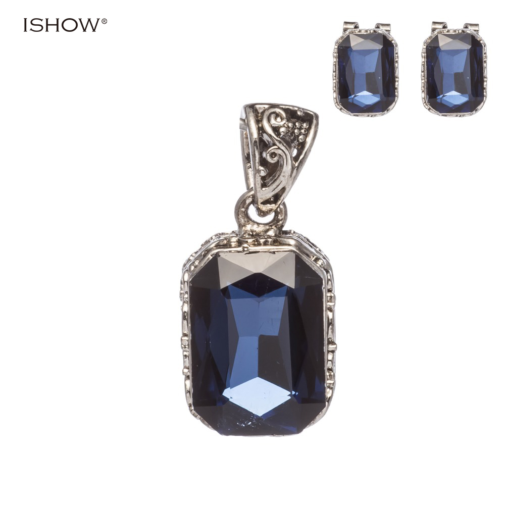 Classical square dark blue jewelry Austrian crystal earrings necklace silver jewelry set wedding bridal jewelry sets for women