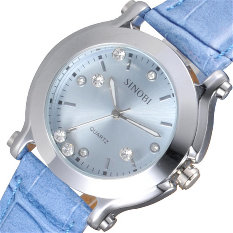original brand luxury watches women leather strap rhinestones crystal ladies quartz watch relogios femininos de marca larsen e7700