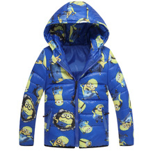 New year Minion Boy Jacket Kids Down Coat boys Clothes Warm Hooded Christmas costume Winter jacket for boy
