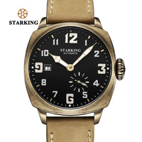 STARKING Retro Watch Men Bronze Plating Stainless Steel Outdoor Sport Watch 50m Waterproof Auto Date Mechanical Wristwatches Men