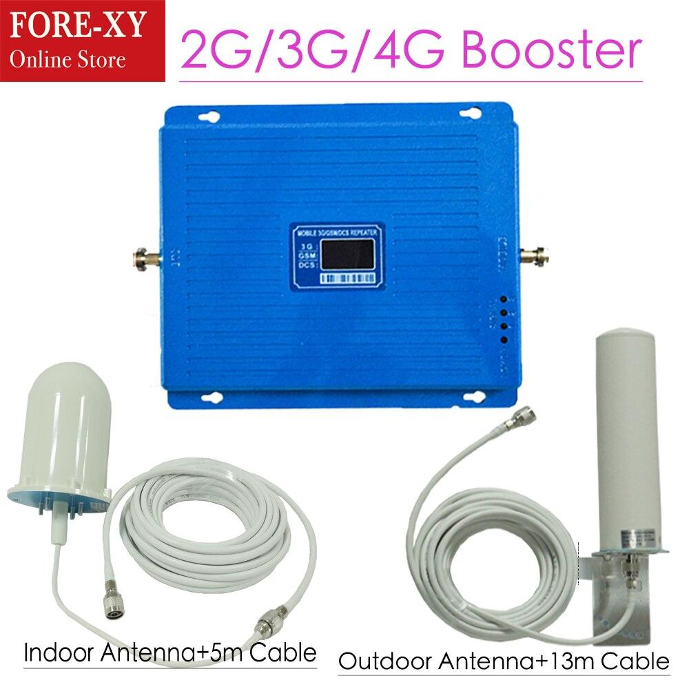 2G 3G 4G amplificateur de Signal cellulaire GSM 900 DCS LTE 1800 WCDMA 2100 mhz répéteur 75dB Gain 4G LTE 1800 amplificateur ensemble d'antenne