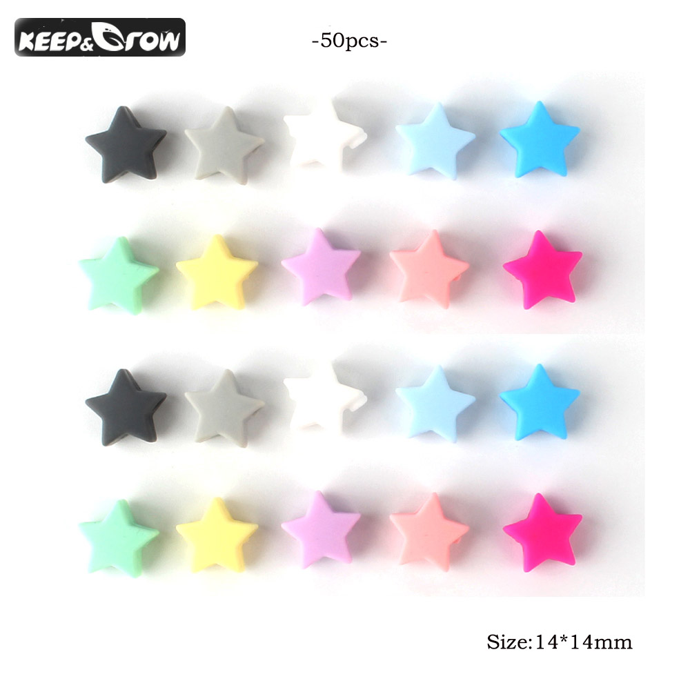 KEEP&GROW 50Pcs Stars Silicone Beads 14mm Food Grade Silicone  Teether Baby Chewing Beads DIY Pacifier Chain Accessories