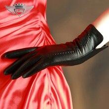 Fashion 2015 Genuine Leather Gloves Women Goatskin Winter Thicken Warm Sheepskin Wrist 31