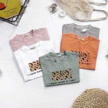 Детские летние футболки с короткими рукавами для мальчиков и девочек детская футболка с леопардовым принтом модная повседневная одежда для малышей с надписью