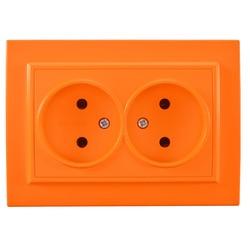 Wall socket Pop Socket Orange color double Socket with out earth European DIY Socket 16A 250V legrand Schneider livolo