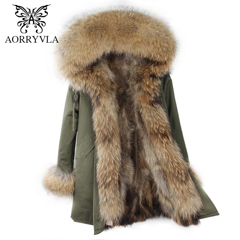 AORRYVLA 2018 Winter Women Hooded Fur Parka Natural Raccoon Fur Collar Hooded Long Coat Detachable Raccoon