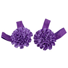 ABWE Best Sale Baby Girl Ribbon Flowers Barefoot Sandals Shoes (Purple)(China)