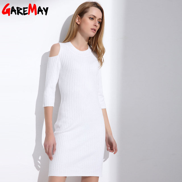 Women Knitting White Dress Sexy Tunic Sweater Office Dress Open ...