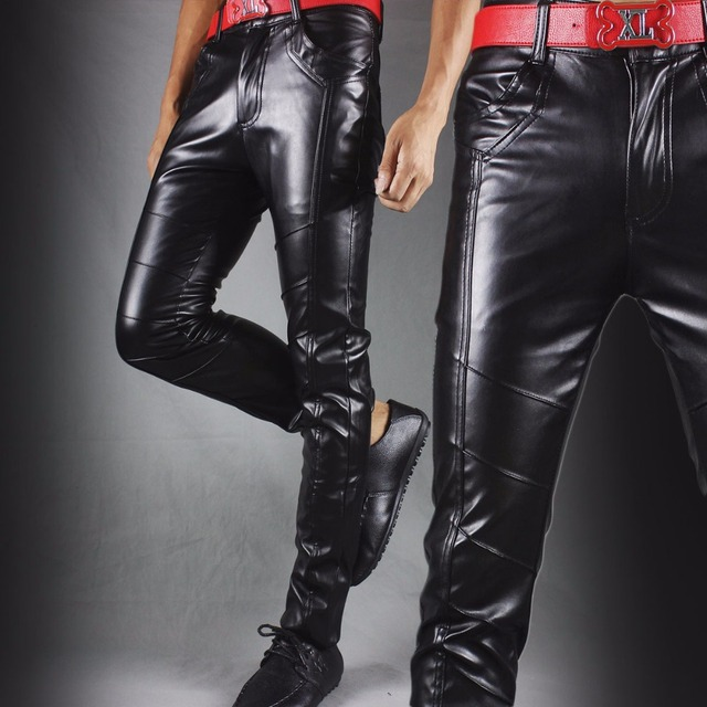 Winter new leather pants men Slim flesh tight pants motorcycle night club hair stylist feet leather pants tide 25