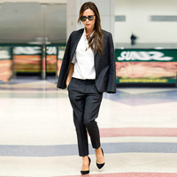 Черный для женщин s бизнес костюмы женские офисные форма Дамы брючный костюм дизайн вечерний смокинг Женский комплект 2 шт. брюк