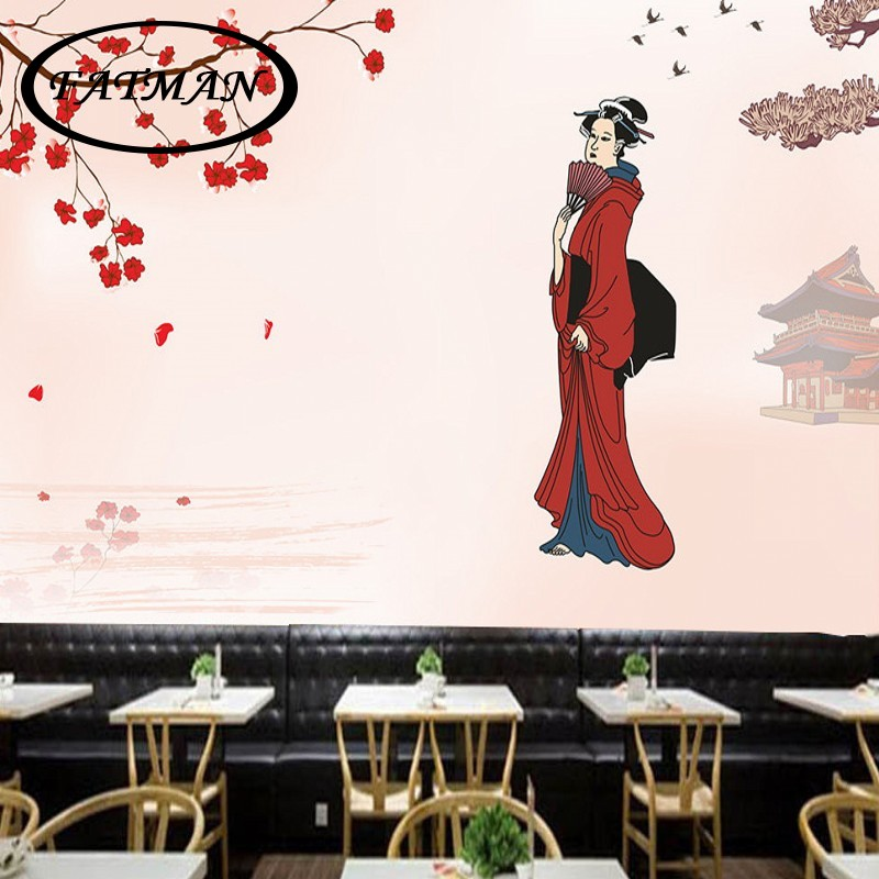 Custom photo wallpaper Cherry blossom Japanese style woman Background wall stereo living room bedroom mural wallpaper