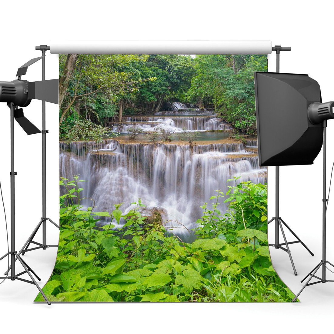 Jungle Forest Backdrop Nature Spring Trees Green Plants Leaves Waterfall Outdoor Journey Cascade Photography Background-in Photo Studio Accessories from Consumer Electronics