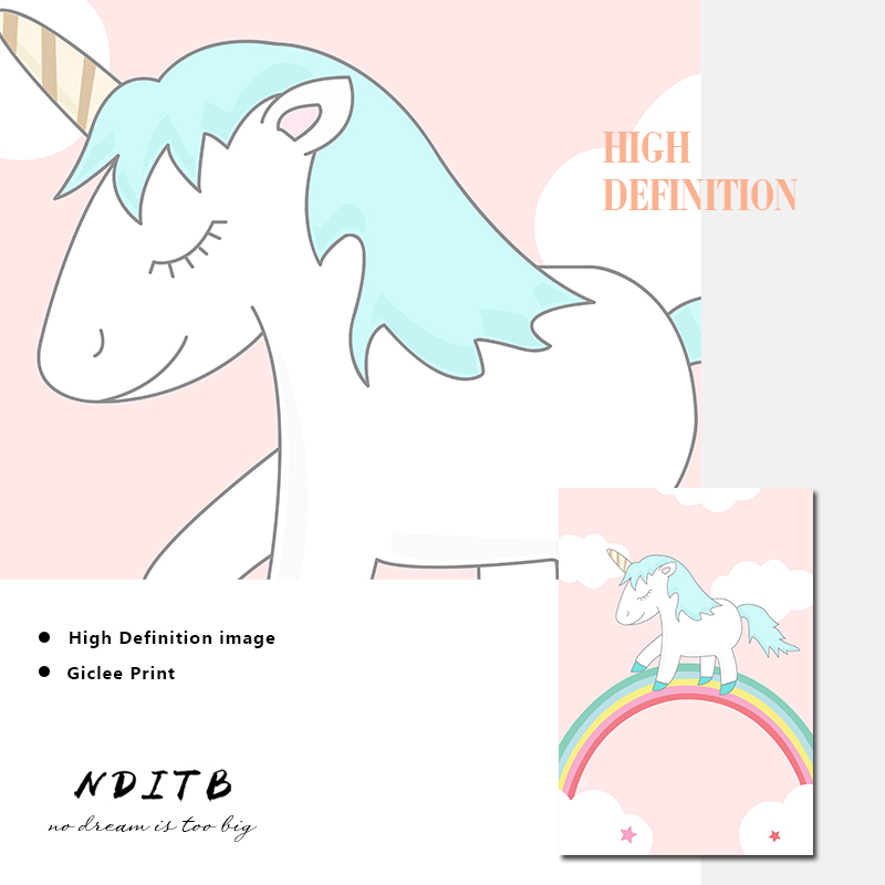 NDITB Cute Unicorn Cartoon Canvas Posters Nurser Print Wall Art Painting Nordic Kids Decoration Pictures Baby Bedroom Decoration in Painting Calligraphy from Home Garden
