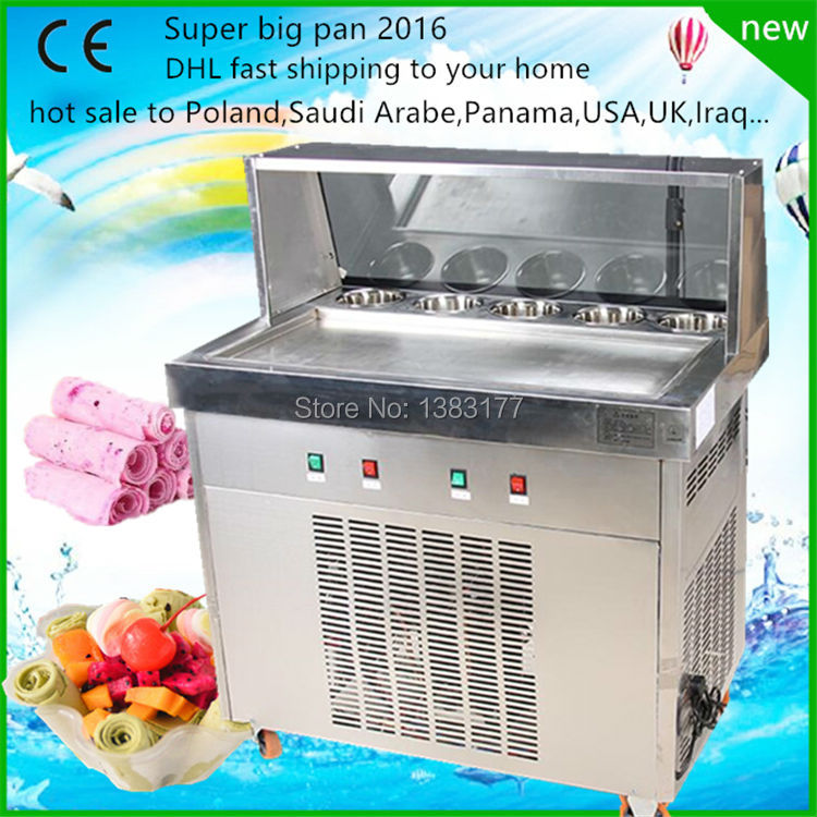 Free ship CE 70cm super big size pan thailand ice roll machine rolled fried ice cream machine single pan soft ice cream machine free shipping big pan 50cm round pan roll machine automatic fried ice cream rolling rolled machine frying soft ice cream make