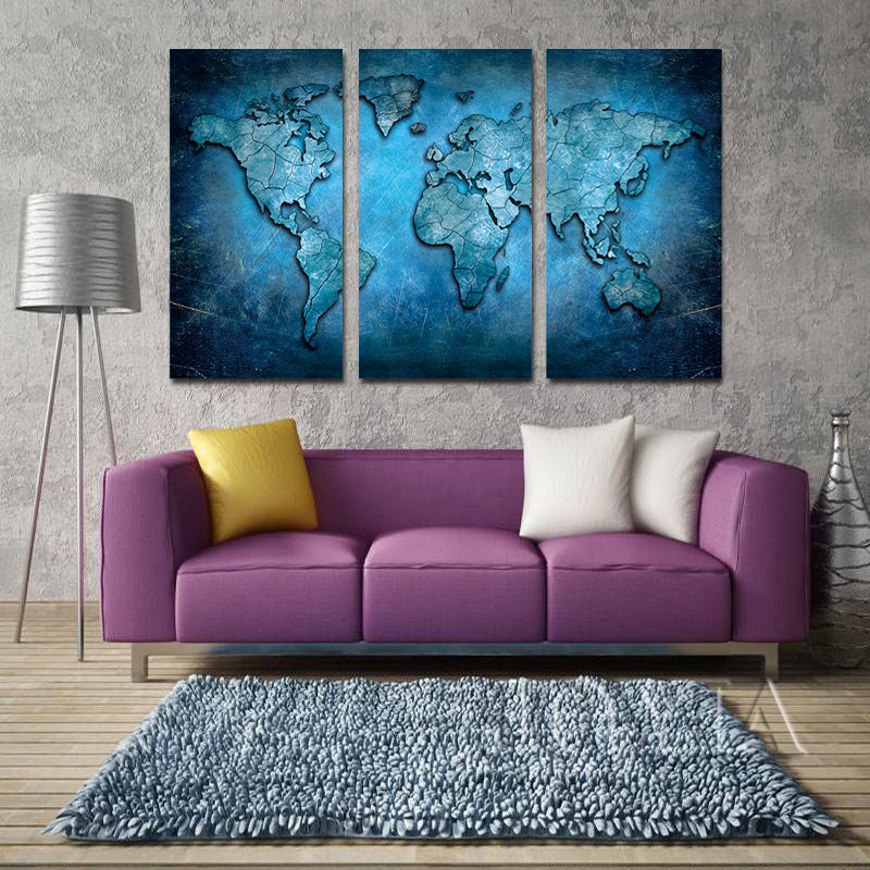 Us 7 76 49 Off Large Triptych Maps Wall Art World Map Abstract Dark Blue Global Lineament Canvas Prints For Home Living Room Decor No Frame In