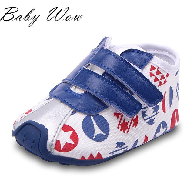 3 - 12 M del bebé de la PU zapatos de moda Graffiti deportes zapatillas doble hebilla lindos del niño calzado exterior primer caminante tyh-30388